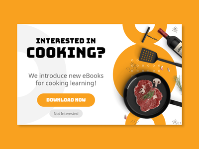 Cooking eBook popup example blog shop banner lightbox e-book learning ebook download e-commerce promotion popups popup design cooking ebook