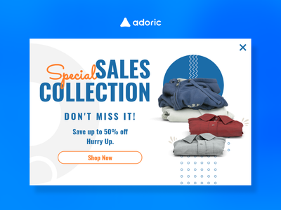 Special sale collection popup example modern shopping popup design apparel sale banner lightbox shop promotion digital store design e-commerce popups popup