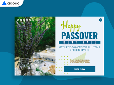 Passover Day promotion popup example modal design popover modal banner sale popups promotion holiday design passover e-commerce popup