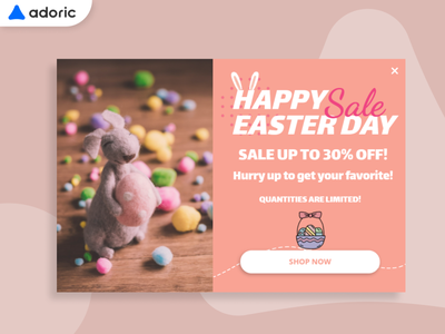 Happy Easter Promotion Popup Example lightbox sale easter egg easter bunny easter popover overlay design promotion e-commerce popup