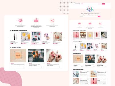 Cosmeclub - Cosmetic Review Landingpage web ux ui web design card design product landingpage review cosmetic webdesign