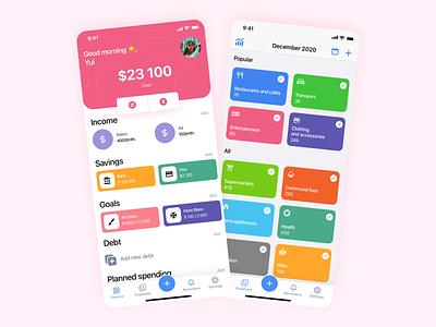 Plan Finance tracker app design debt goals financial app bank banking color fintech finance ux mobile interface illustration app app concept design ios ui