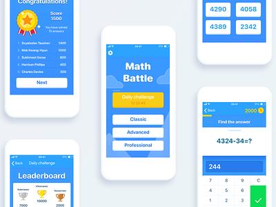 Math Battle coins gaming mobile blue button app interface kids children ux trivia quiz game gui design ui ios