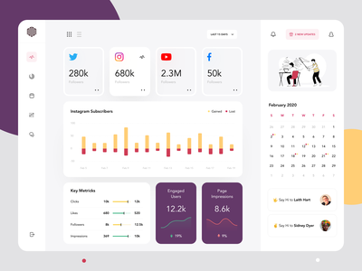 Social Media Dashboard design flat app concept illustration ux ui minimal
