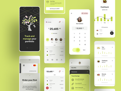 Online banking - finance app concept. wallet travel money transfer money mobile graphics fintech finace credit cashbook banking awsmd flat design branding app ux minimal ui