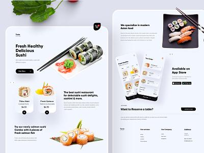 Sushi Landing page UX/UI Design sushi landingpage branding clean ui design flat website web concept ux minimal ui