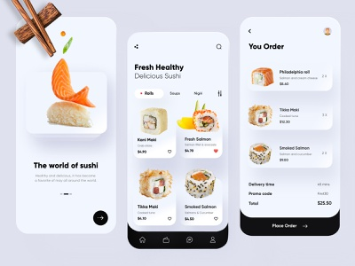 Sushi Mobile App UX-UI Design creative mobile sushi clean ui flat branding design app ux minimal ui