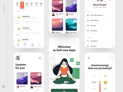Self-care Mobile App Design creative design animation clean ui flat vector app illustration ux minimal ui