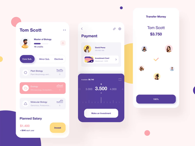 Interaction design -  Students Invest Mobile App student ios animation interaction graphics motion keyboard money investments investing mobile app ux ui minimal