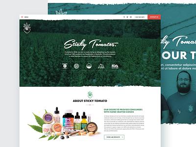 Sticky Tomato Website Design - Home page art fun creative direction creative design design flat clean ui branding farm cbd minimal website web concept illustration ux ui