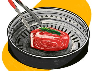 LATIMES KoreanBBQ los angeles times latimes restaraunt food and beverage food drawing illustration digital illustration