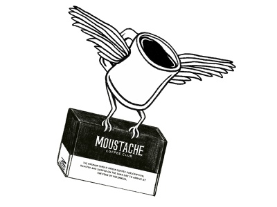 Moustache Coffee Club Sticker Illustration - Winged sticker stickers brand coffee weird food and beverage drawing illustration digital illustration