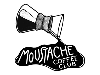 Moustache Coffee Club Sticker Illustration moustache coffee cup coffee shop pourover coffee food and beverage drawing illustration digital illustration