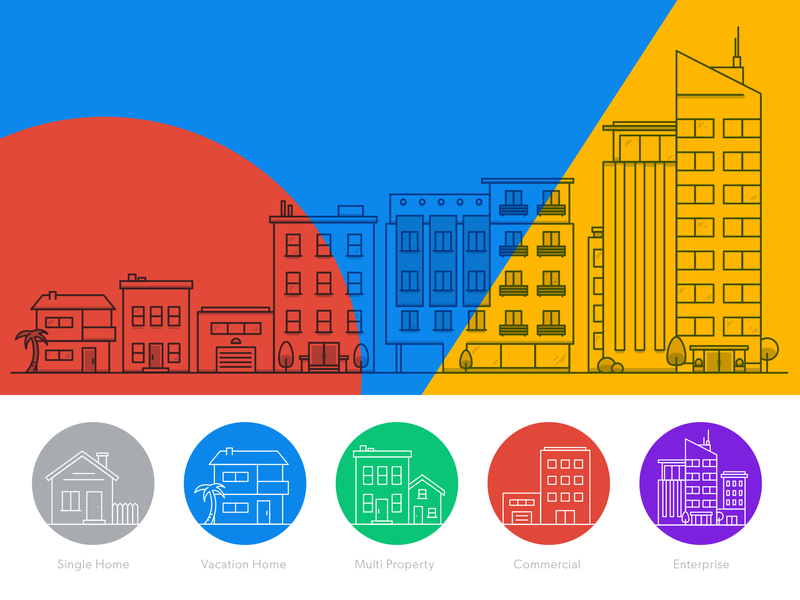Icons for Businesses Large and Small properties offices commercial buildings skyline icon illustration