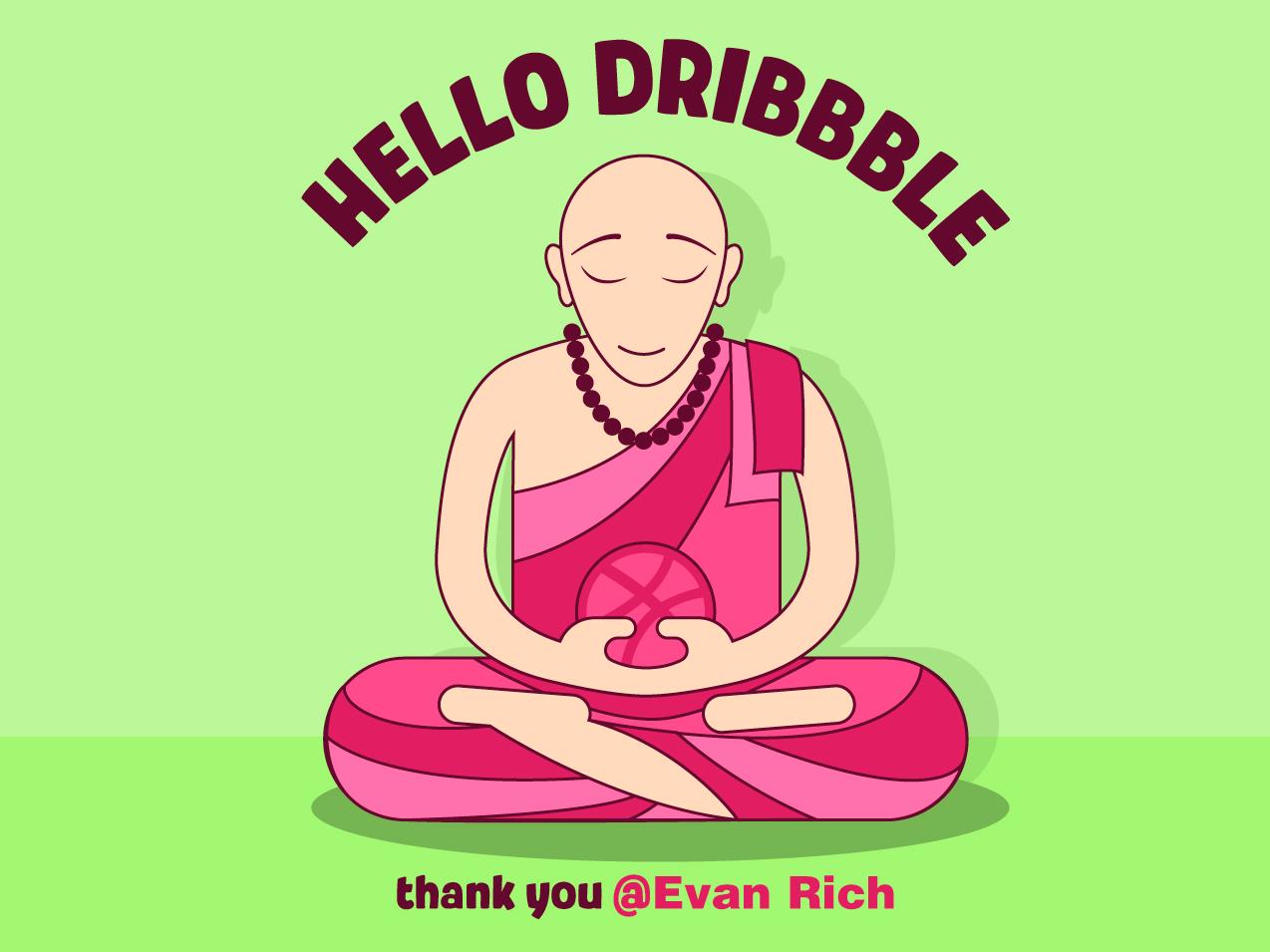 Hello Dribble monk hellodribbble vector illustration