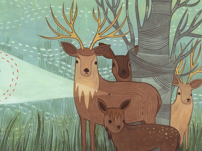Deer Tick deer illustration forest gouache hand painted susie ghahremani editorial magazine