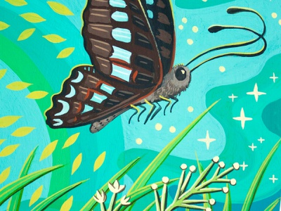 Blue Triangle Butterfly australia susie ghahremani nature painting butterfly gouache hand painted