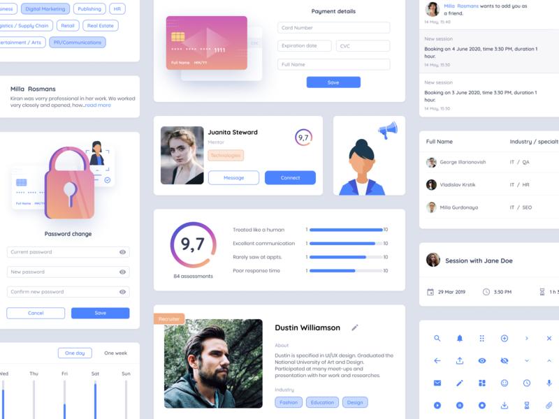 UI kit for career boost app icons illustration ui kit career vector figma web ux ui mentalstack design