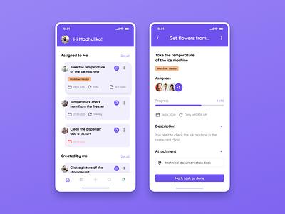 Mobile app for creating tasks assistant manager task app design homepage figma ux ui mentalstack design