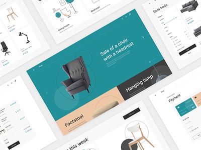 Marketplace for interior design illustration furniture homepage landing figma web mentalstack ux ui design