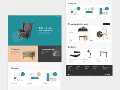 Marketplace homepage for interior design illustration homepage figma web mentalstack ux ui design