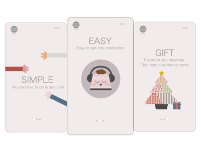 Onboarding relax onboarding guide mindful healthcare life style mental health iphone mobile app meditation branding ui illustration app icon daily ui design concept daily 100 challenge sketch