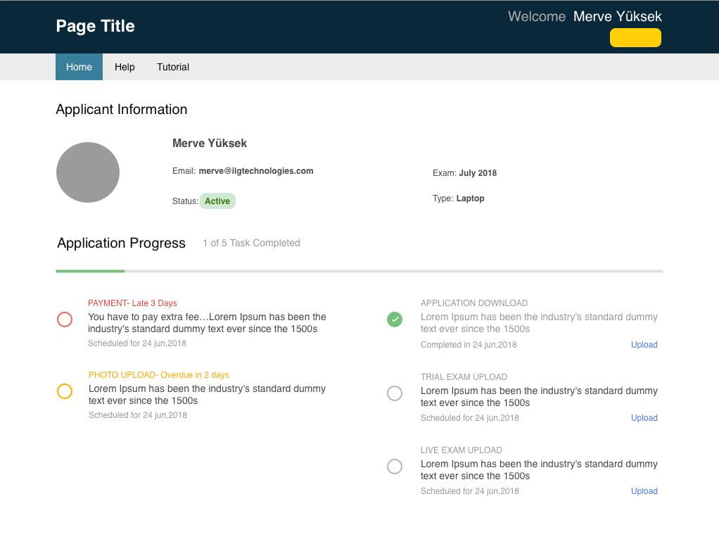 Applicant info page - Progress task info home user progress