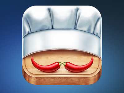 New Fork App Icon Design ramotion fork cook recipe recipes cooking food meal wood table wooden board hat chef menu white restaurant gourmet dinner eat