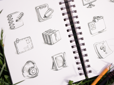 Iconfinder Marketplace Icons Set sketch pencil drawing paper moleskine grass spring address book zipper default design music photo file mail presentation ramotion icon icons