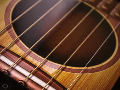 Go! Guitar Interface Design ramotion go guitar ui interface iphone ipad app design gui user experience realistic wood wooden texture string chord deck music