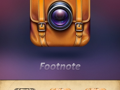 Camera App Icon for Travelers icon ramotion camera photo video notes bag leather travel realistic application design ios iphone ipad appstore lens glass chrome stitching