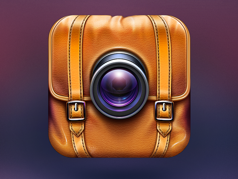 Camera App Icon for Travelers icon ramotion camera photo video notes bag leather travel realistic application design ios iphone ipad appstore lens glass chrome stitching location texture sketch footnote macos mac android branding logo product
