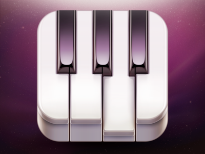'Go! Piano' App Icon Design icon icons ramotion design piano sketch ios iphone ipad app appstore application music glossy classic plastic reflection sound epic key