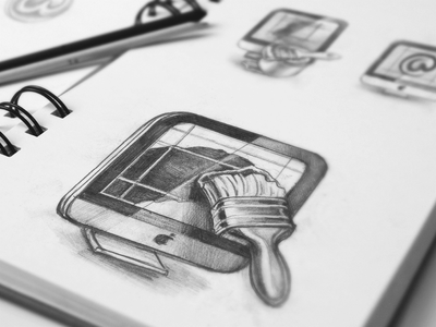 Mac App Icon Sketches ramotion design icon icons app application appstore white mac macos macintosh paper sketch pencil wooden drawing set pen sketches screen
