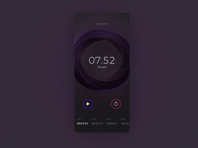Ramotion Labs: Stopwatch UI mobile app design app development company iphone ux interface ui ramotion design app ux ui user interface user experience