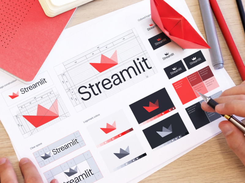 Streamlit Visual Identity corporate logo logomark elegant logo modern logo design enterprise ui cool icons minimal logo ui style guide flat logo design creative logo simple logo vector illustration tech logo app icon flat illustration logo presentation visual identity logotype icons logo