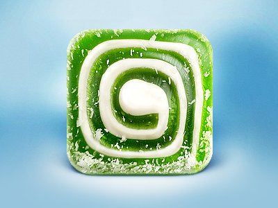 Sweet iOS App Icon food icon icons ramotion ios iphone ipad appstore sweet sugar design photo retouch 3d green cocoa rolls roll sushi mac