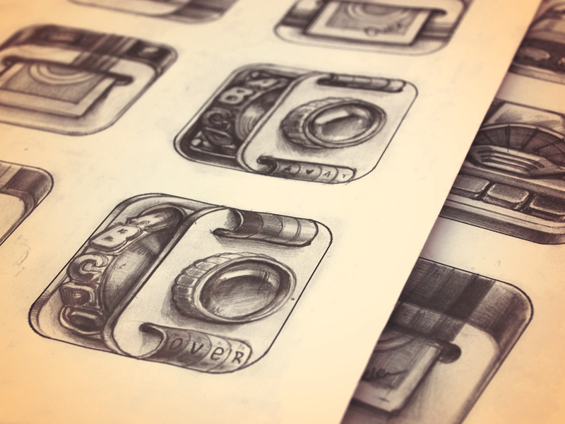 iPhone App Icon Sketches — Stage 2 ramotion icon icons app appstore application metal ios ipad iphone paper photo sketch leather pencil lens camera vintage letter mechanism