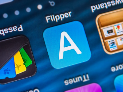 Flipper App flipper icon ramotion text flip reverse copy share flat design word letter switch tap rotate blue white ios7