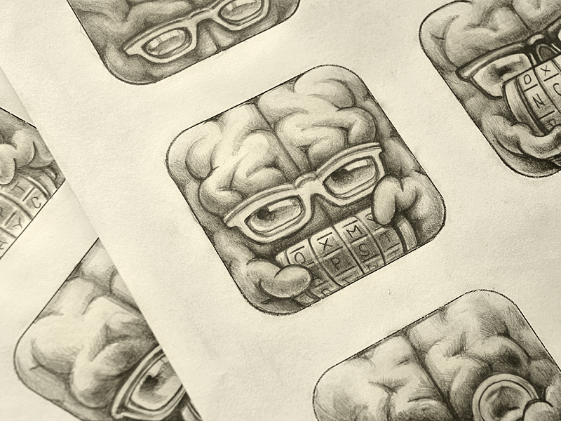 Cryptex App Icon Sketches icon ramotion design app application appstore sketch pencil cryptex brain mac android