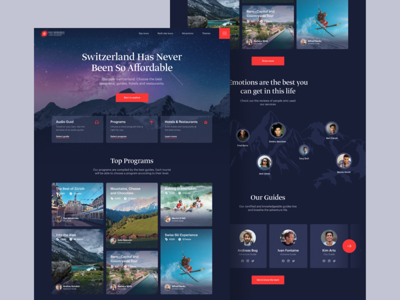 Swiss tourist portal - visual concept stage website web design agency tourism webpage landing page web design ux interface ui ux ui user interface user experience design ramotion