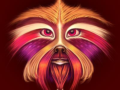 Monkey illustration monkey character ramotion illustration face art fur wool skin eyes orange painting