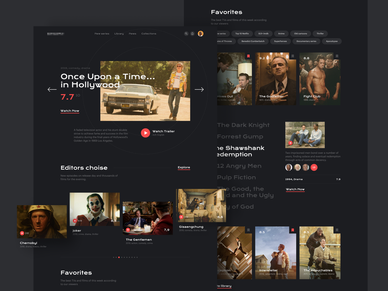 Ramotion Lab: Movies and TV Shows Portal landing page concept landing page ui web concept landing page design web design company web page web design landing page ux application ux ui ui interface user interface user experience design ramotion
