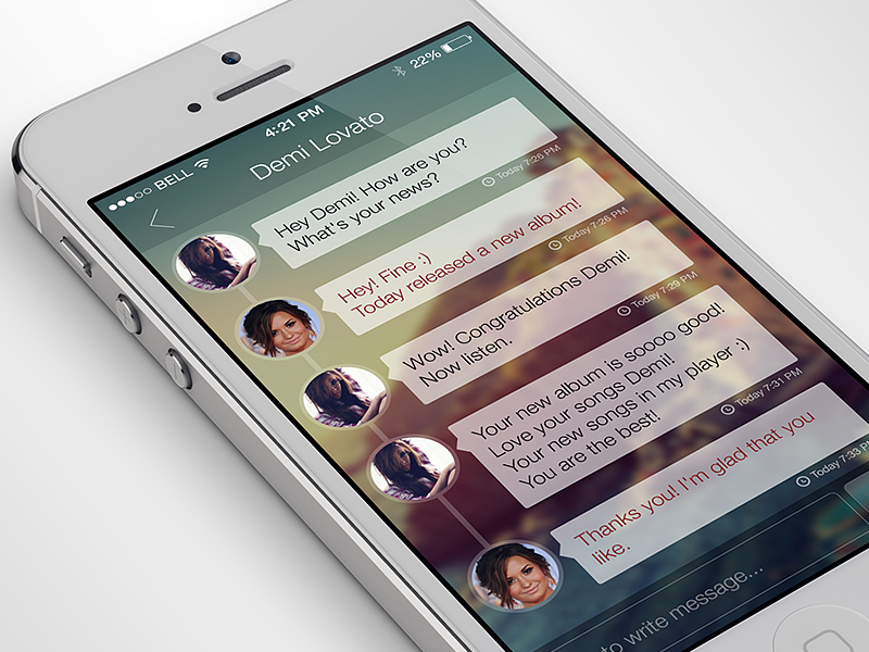 iPhone Chat App ios7 iphone chat app flat social network ui design ux gui interface