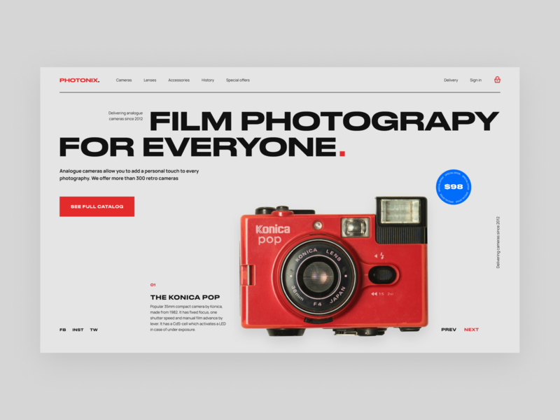 Ramotion Lab: Retro Devices Store store ecommerce site web page film photography web design company retro web concept landingpage web design web ux interface application ui ux ui user interface user experience design ramotion