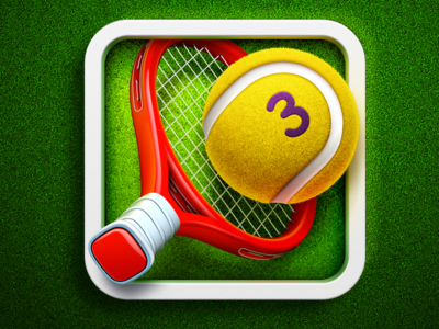 Hit Tennis 3 App Icon | iOS game design ramotion ball racket sport grass mac android application product logo