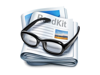 ReadKit Mac App Icon | RSS glasses newspaper magazine design ramotion glass feed reader application macos logo product