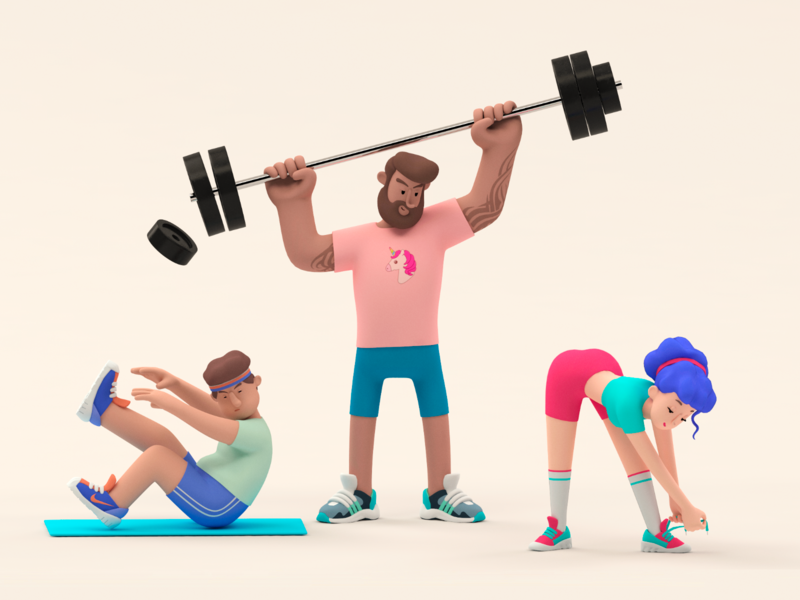 Training Service Illustration 3d scene 3d illustration illustration art brand identity design fitness center 3d art 3d models training fitness 3d characters ui vector icon ramotion design illustration