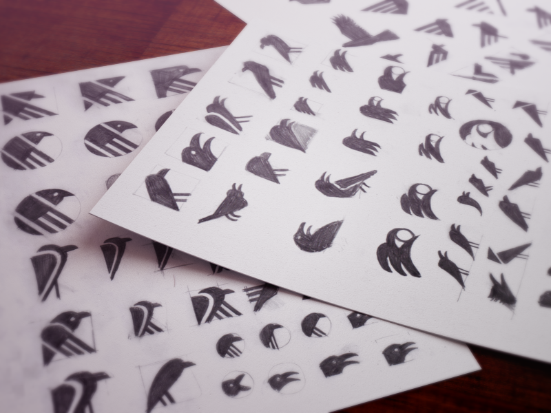 Sketching ramotion icon app icons appstore pencil sketch sketches ios 7 bird raven logo