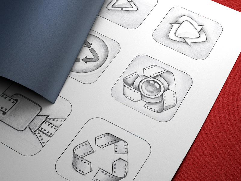 Vizzywig App Icon Design, Part 2 vizzywig app icon icons ios iphone camera sketches pencil appstore video mac